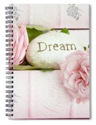 Shabby Chic Cottage Pink Roses On Pink Books - Romantic Inspirational Dream Roses  Spiral Notebook