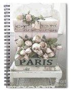 Paris Shabby Chic Pastel Paris Books Roses - Paris Shabby Cottage Watercolor Roses Spiral Notebook