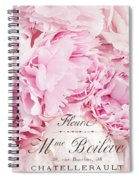 Shabby Chic Pink Pastel Peonies French Script - Paris Pink Peonies Baby Girl Nursery Decor Spiral Notebook
