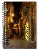 Shabby Chic - Small Street Night Walk In Syracuse Sicily Spiral Notebook