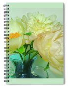 Beautiful Peony Flowers  In Blue Vase. Spiral Notebook