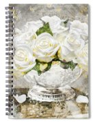 Shabby White Roses With Gold Glitter Spiral Notebook