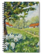 Sheep Huddled Under The Tree Farm Scene Spiral Notebook