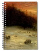 Sheep In A Winter Landscape Evening Spiral Notebook