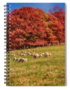 Sheep In The Autumn Meadow Spiral Notebook