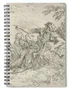 Shepherd Holding A Flute And Two Other Figures In A Landscape Spiral Notebook