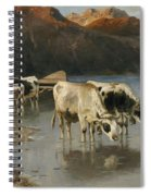 Shepherd With Cows On The Lake Shore Spiral Notebook