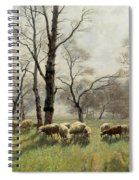 Shepherd With His Flock In The Evening Light Spiral Notebook