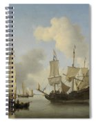 Ships At Anchor On The Coast  Willem Van De Velde II C 1660 Spiral Notebook