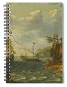 Ships Moored Off A Rocky Coastline With Fishermen Unloading Their Catch Spiral Notebook