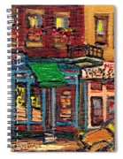St Viateur Bagel Shop And Mehadrins Kosher Deli Best Original Montreal Jewish Landmark Painting  Spiral Notebook