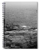 Shoreline And Shipwreck - Portland, Maine Bw Spiral Notebook