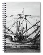 Shrimp Boat In Black And White Spiral Notebook