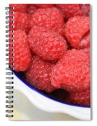 Side View Of Rasberries In Blue Bowl Spiral Notebook