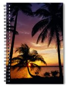 Silhouette Of Palm Tree On The Coast Spiral Notebook