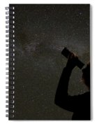 Silhouette Of Woman Looking At Stars Spiral Notebook