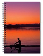 Silhouetted Man Rowing Spiral Notebook