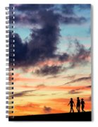 Silhouettes Of Three Girls Walking In The Sunset Spiral Notebook
