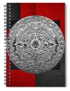 Silver Mayan-aztec Calendar On Black And Red Leather Spiral Notebook