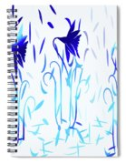 Simply Blue Dancing Flowers Spiral Notebook