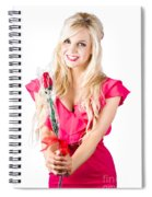 Sincere Woman Saying Thank You With Flower Spiral Notebook