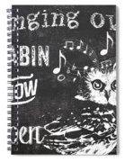 Singing Owl Cabin Rustic Sign Spiral Notebook