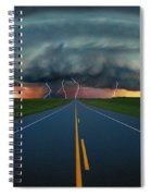 Single Lane Road Leading To Storm Cloud Spiral Notebook