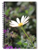 Single White Daisy On Purple Spiral Notebook