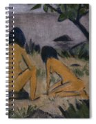 Sitting And Kneeling Figures On The Bank Of The Moritzburg Lakes Spiral Notebook