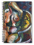 Sitting Nude With Flowers And Chair Spiral Notebook