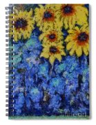 Six Sunflowers On Blue Spiral Notebook
