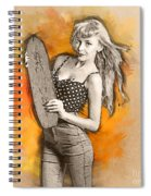Skateboard Pin-up Illustration Spiral Notebook