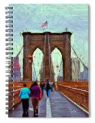 Sketch Of Brooklyn Bridge Pedestrians Spiral Notebook