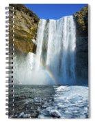 Skogafoss Waterfall Iceland In Winter Spiral Notebook