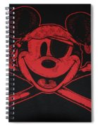 Skull And Bones Mickey In Red Spiral Notebook
