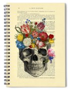 Skull With Flowers Vintage Illustration Spiral Notebook