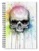 Skull Watercolor Rainbow Spiral Notebook