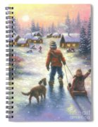 Sledding To The Village Spiral Notebook