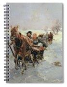 Sleighs In A Winter Landscape Spiral Notebook