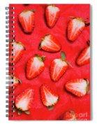 Sliced Red Strawberry Background Spiral Notebook