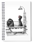 Sloth In Bathtub Taking A Shower Spiral Notebook