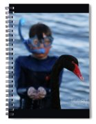 Small Human Meets Black Swan Spiral Notebook