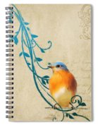 Small Vintage Bluebird With Leaves Spiral Notebook