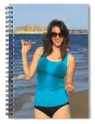 Smiling Hottie At The Beach Spiral Notebook