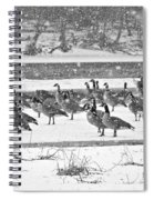 Snow And Geese On The River II Spiral Notebook