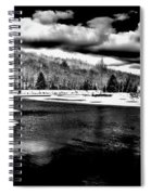 Snow At The River - Bw Spiral Notebook