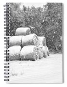Snow Covered Hay Bales Spiral Notebook