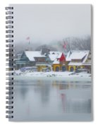 Snow Falling On Boathouse Row Spiral Notebook