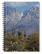 Snow On Four Peaks Arizona No Snow On Saguaros Spiral Notebook