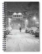 Snow Storm In Chinatown Boston Chinatown Gate Black And White Spiral Notebook